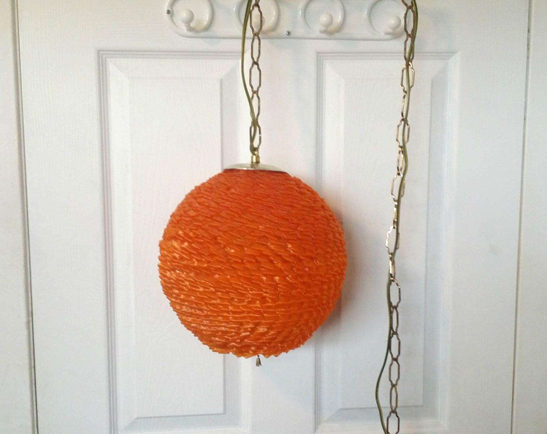 mid century modern orange globe light spun lucite fiberglass hanging swag lamp round spaghetti pendant light home decor vintage lighting