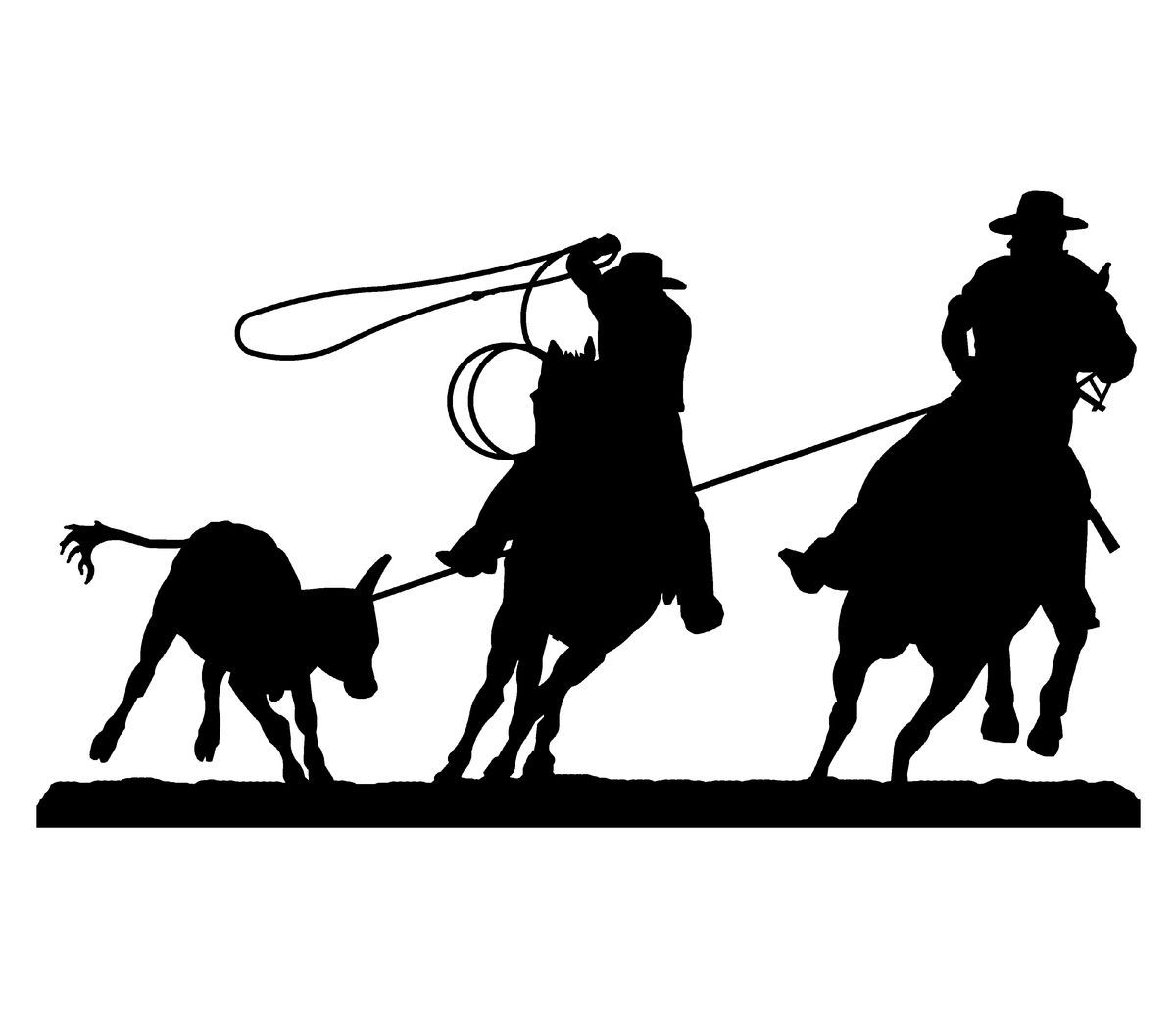 Team Roping Silhouette Embroidery Designs