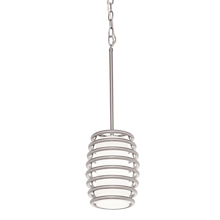 Kichler Lighting Bands 7.01 In Brushed Nickel Industrial Mini Etched Glass  Cylinder Pendant