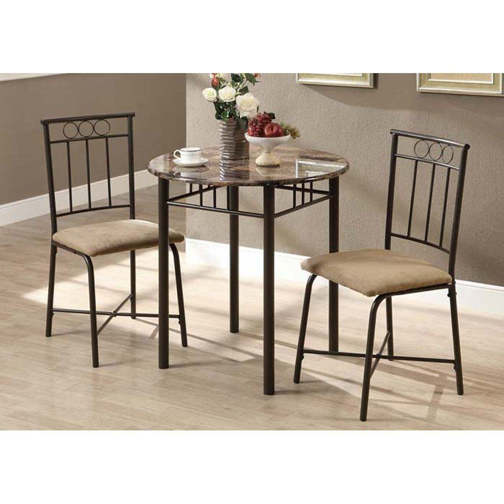 3 Piece Dining Set Round Table 2 Chairs Bronze Metal Marble Kitchen ...
