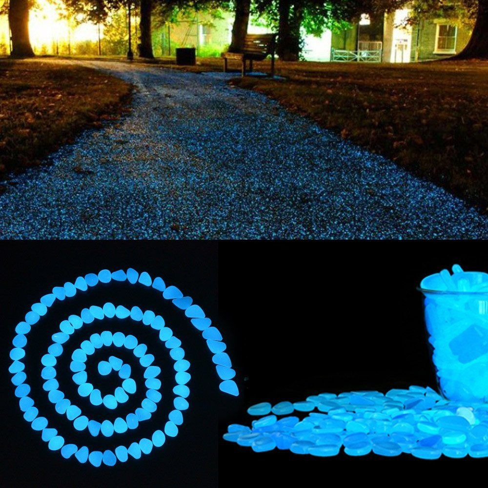 100 pcs glow in the dark garden pebbles cozzine garden decor glowing stones luminous rocks - Glow In The Dark Garden Pebbles