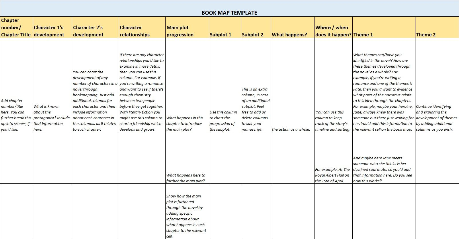 Free Book Mapping Template Available From My Website
