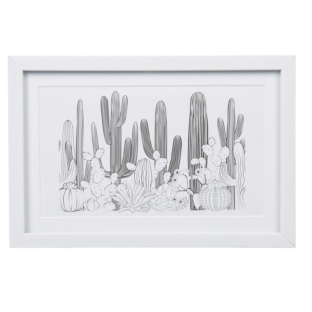 Cadre Deco Design Dessin De Cactus Illustration Cactus Dessin Cactus Et Dessin