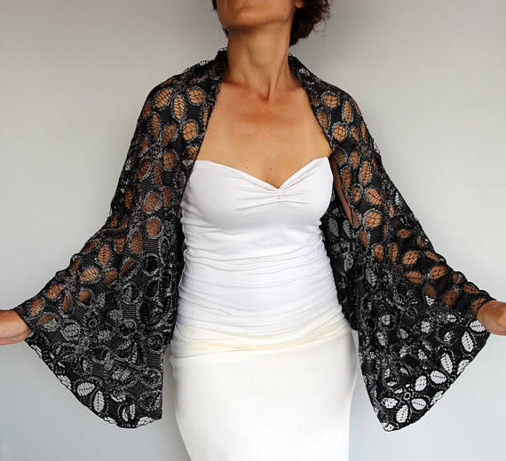 65ad915755 Black Silver Lace Bolero, Long Sleeved Shrug Shoulder Coverup Evening Dress  Cover Mother of the Brid