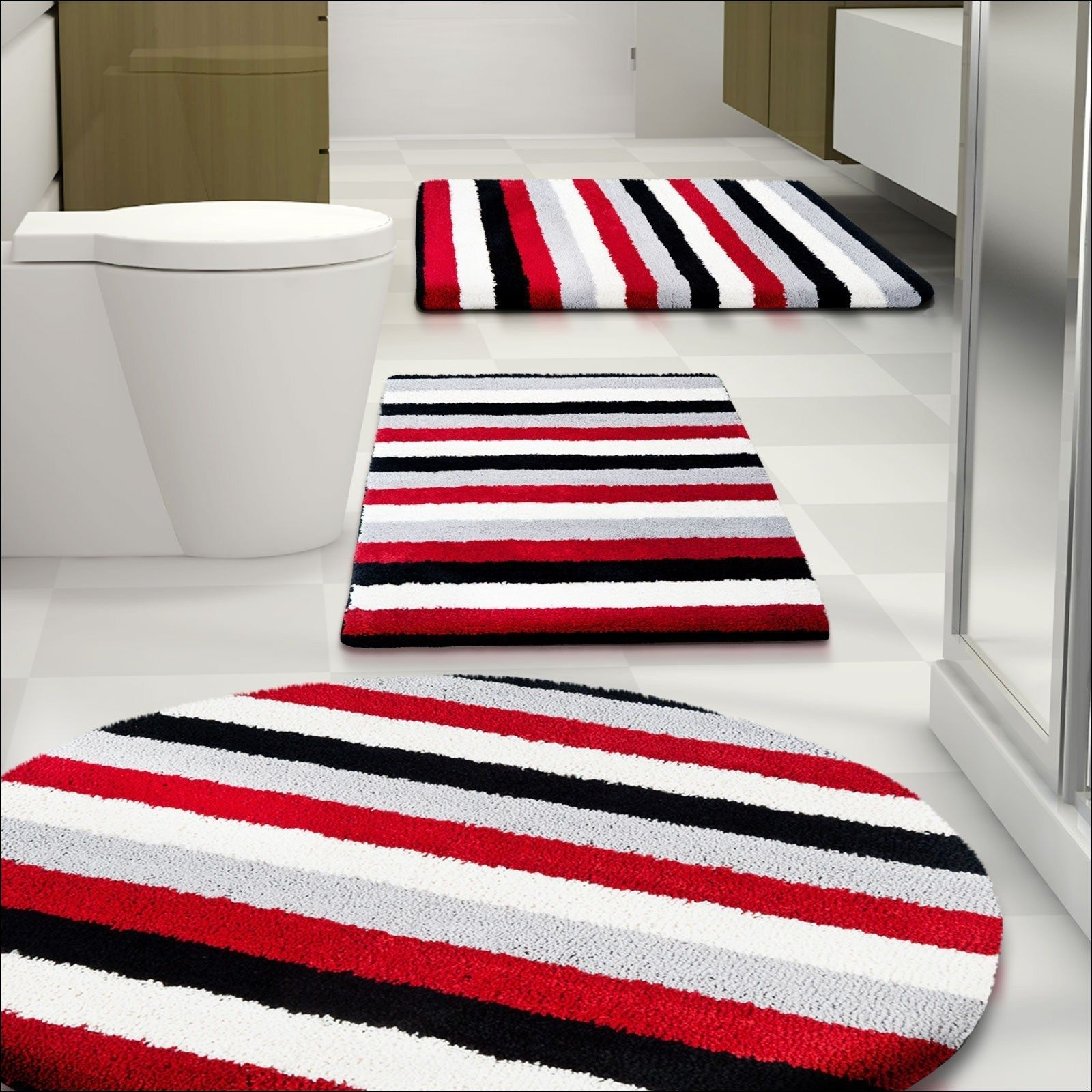 Awesome Navy And White Striped Bath Mat Red Bathroom Rugs