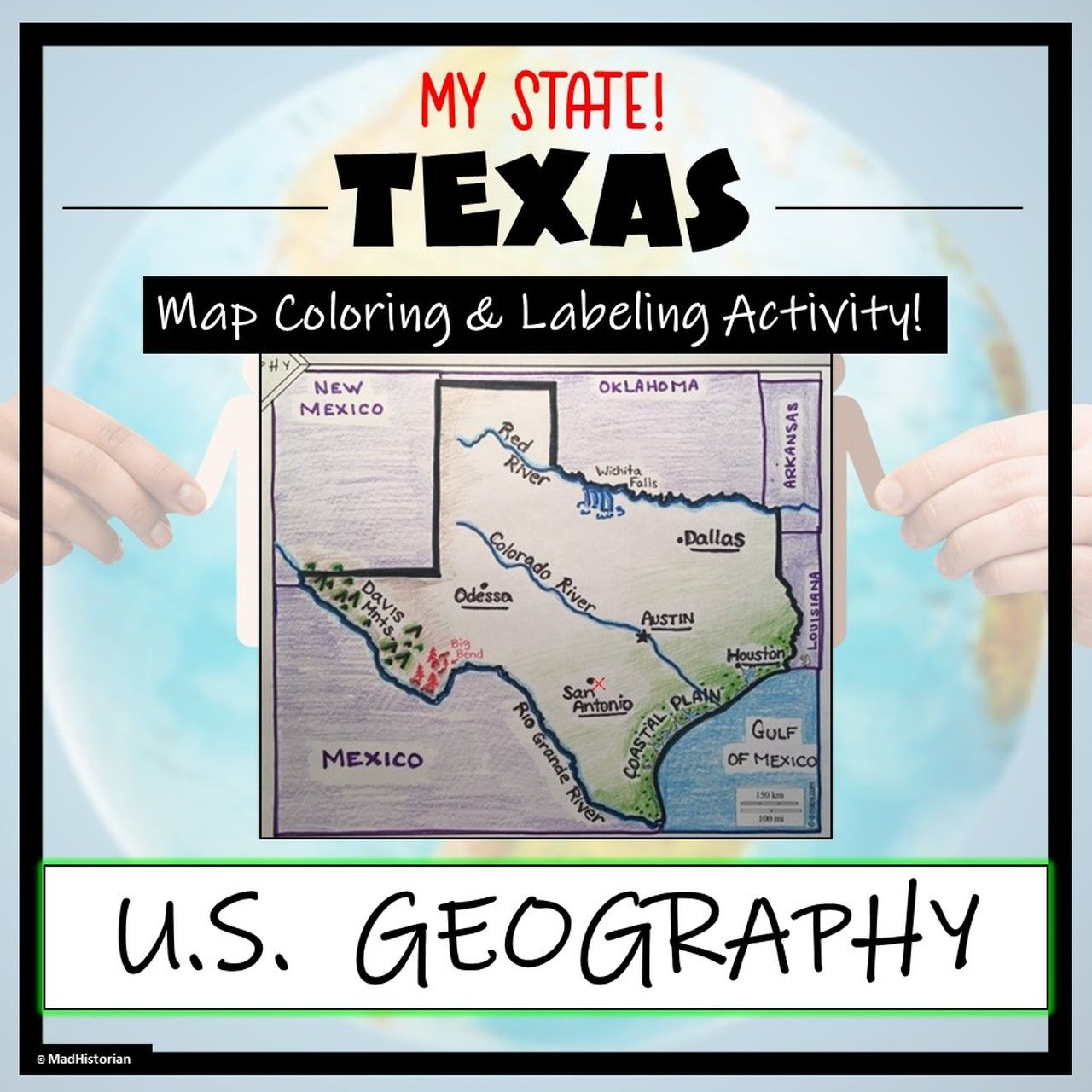 Texas Geography Amp Map Skills Label And Coloring Activity