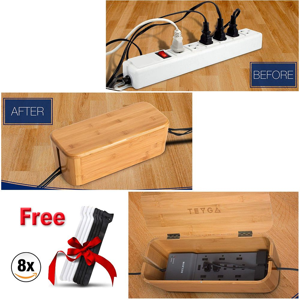 Bamboo Cable Management Box Stylish Cord Organizer Hides Power