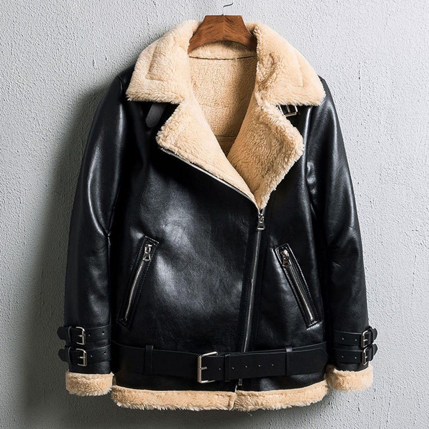 Oversized Faux Fur Moto Bike Jacket in 2020 Faux fur
