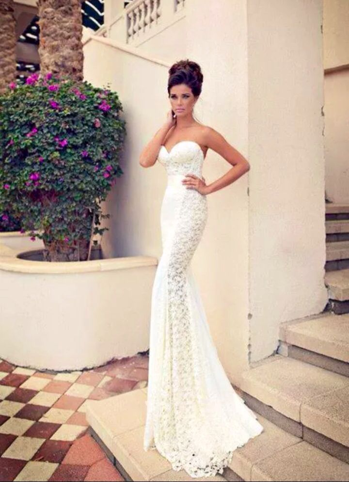 Wedding Dress Slim Fit Lace Heart Long Strapless Elegant Wedding Dresses Bridal Gowns Bridal Dresses