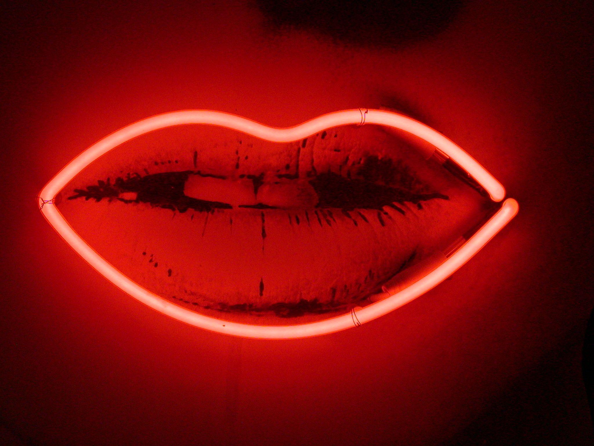 Image After Texture Lips Neon Artwork Red Light Neon Artwork