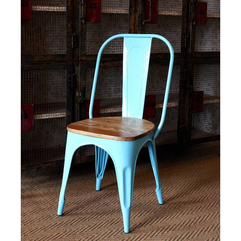 French café chair in blue with wooden seat Vintage