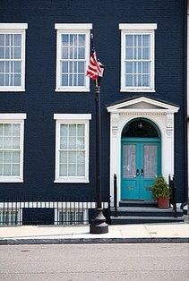 Navy Teal House Exterior Blue Grey White Trim