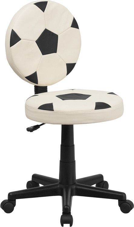 Bring your favorite sport to the desk with this Soccer Inspired Office Chair that is perfect for all young soccer fans! The round seat and back resembles two soccer balls that are upholstered in vinyl