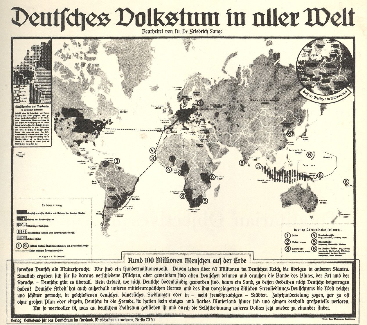 German peoples across the world (1938) [1264×1120] Map