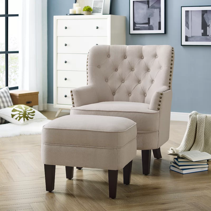 Elroy Wingback Chair And Ottoman Chair And Ottoman Chair And Ottoman Set Beige Ottoman