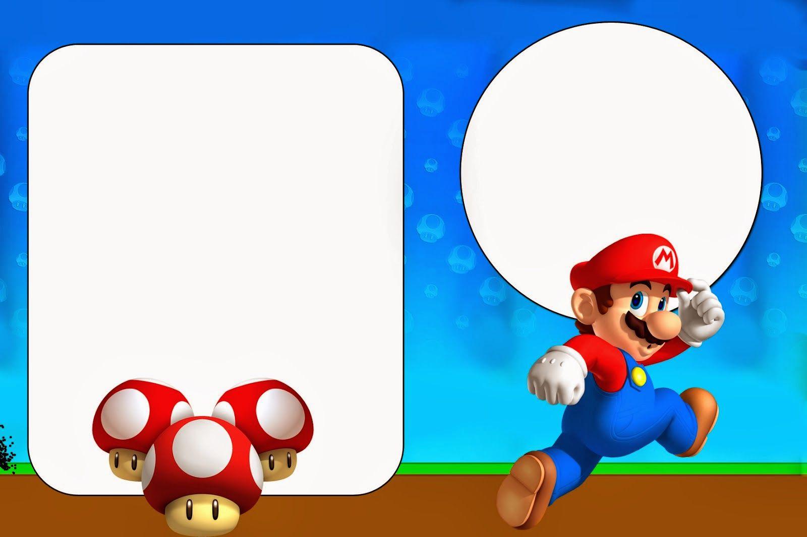 Super Mario Bros Imprimibles Invitaciones Y Tarjetas