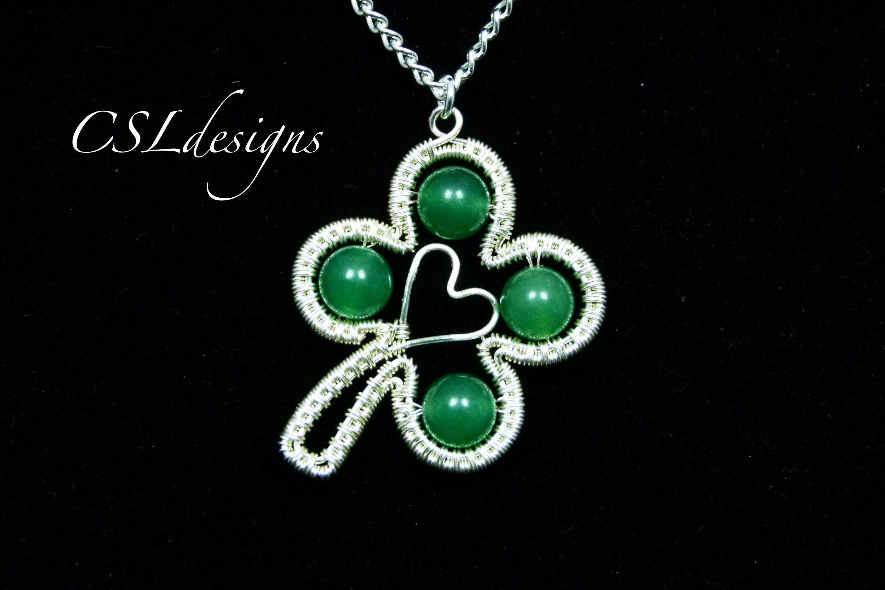 Green lucky shamrock necklace four leaf clover charm emerald green - In This Tutorial I Show You How To Make A Four Leaf Clover Wirework Pendant That S Perfect For St Patrick S Day Or Even As A Good Luck Charm