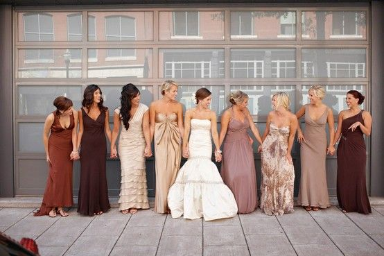 ab069cea232 mismatched maids taupe and chocolate. mismatched maids taupe and chocolate  Bridesmaids With Different Dresses ...