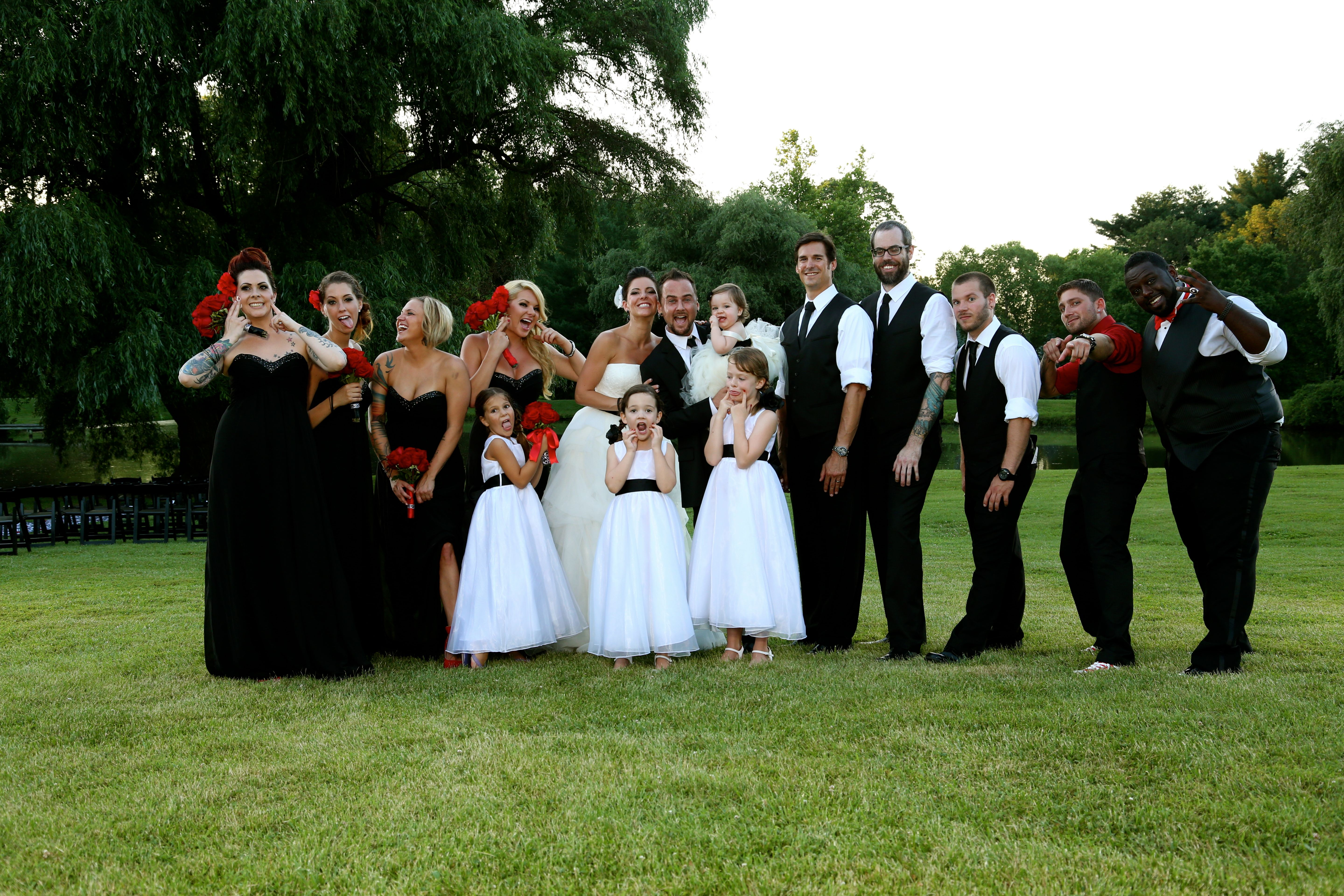 Goofy Wedding Party Red, White, And Black Wedding VW351065