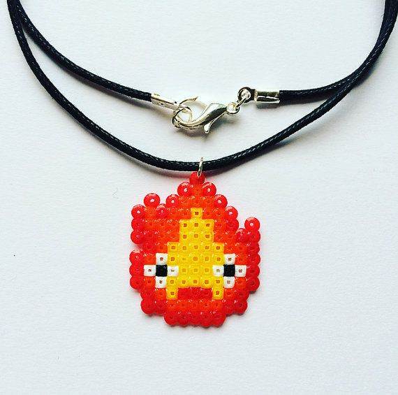 Calcifer Hama Bead Necklace Howl's Moving Castle