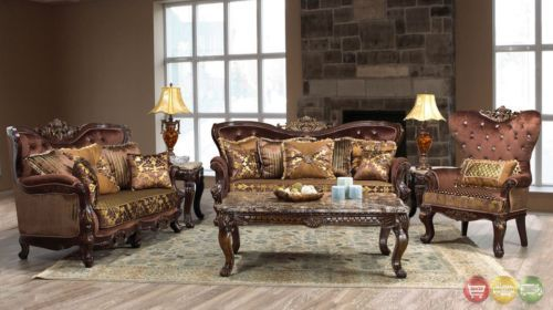 Opulent Traditional Ornate Sofa Love Seat Chair 3 Piece Formal