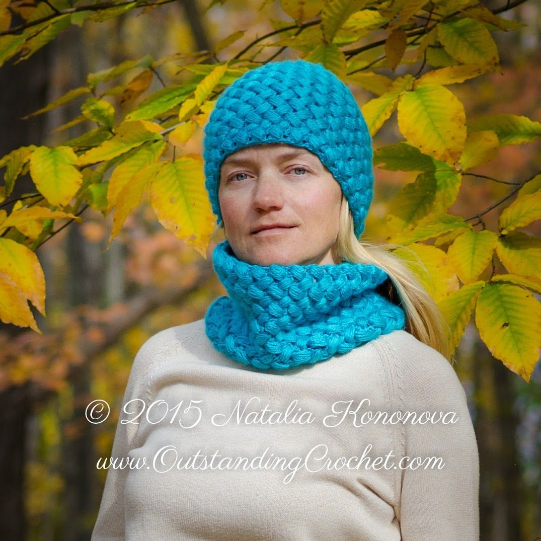 Outstanding Crochet: Puff Stitch Crochet Hat and Tube Scarf Set ...