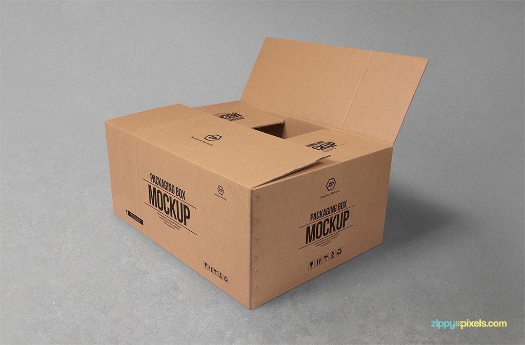 Download Free Cardboard Box Mockup Freebies Fribly Box Mockup Packaging Mockup Free Mockup