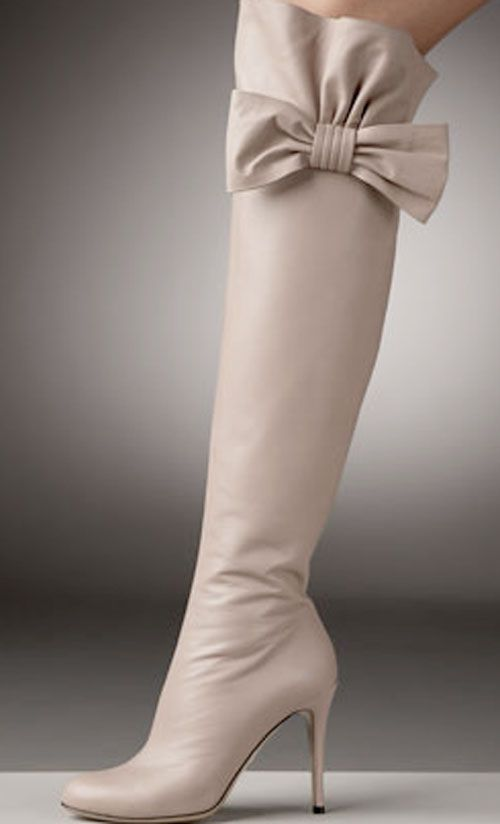 Valentino bow topped over the knee boot