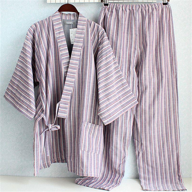 Learned Summer Kimono Pajamas Men Cotton Pajamas Half Pants Mens Lounge Sleepwear Kimono Pajama Set Men's Pajama Sets