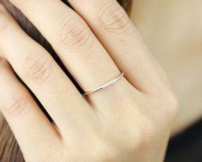 Simple Diamond Ring Wedding Engagement Ring Diamond Eternity Etsy Thin Diamond Wedding Band Simple Diamond Ring Yellow Gold Diamond Wedding Band