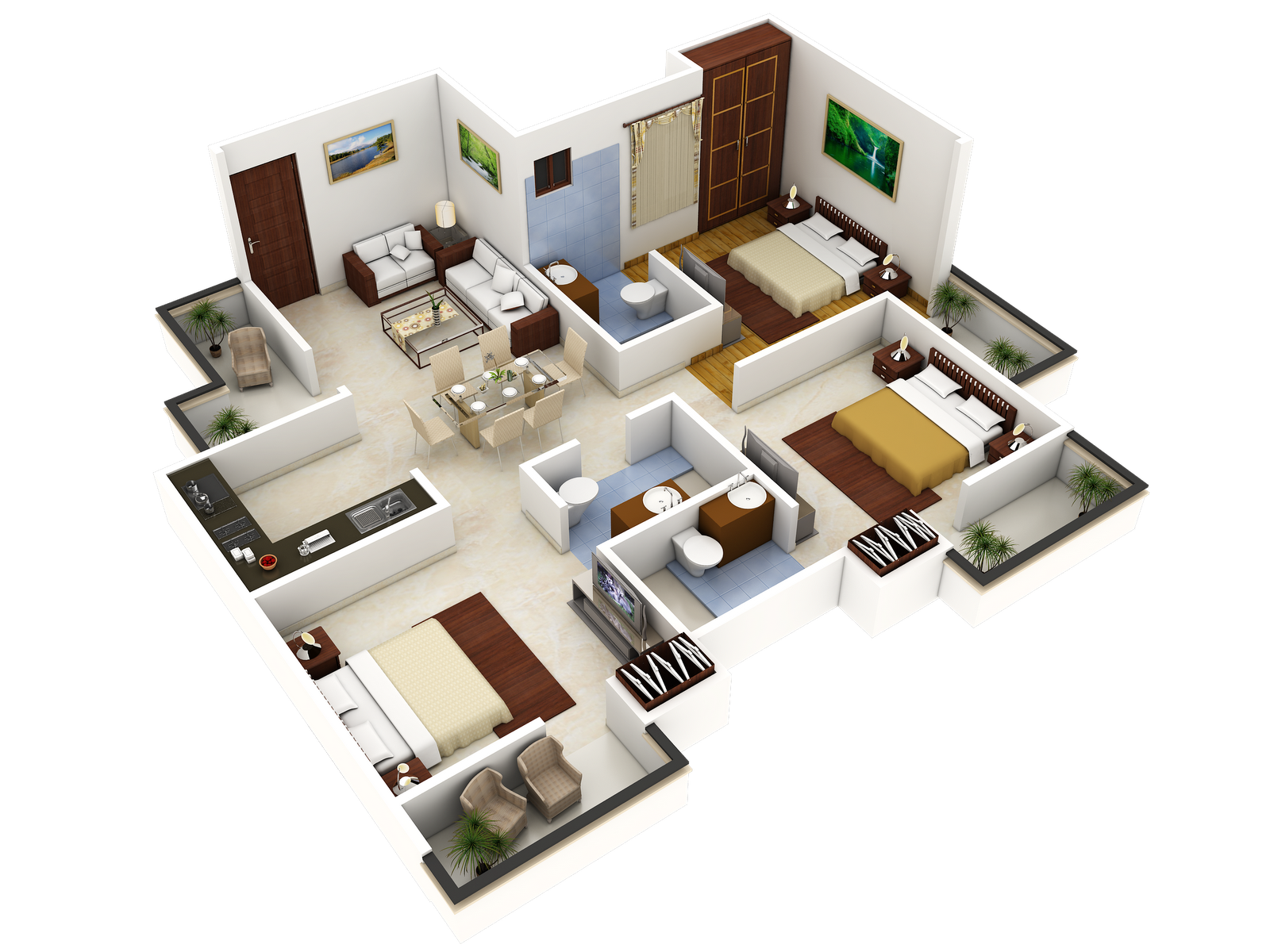 3 bedroom house designs 3d buscar con google grandes for Floorplans 3d