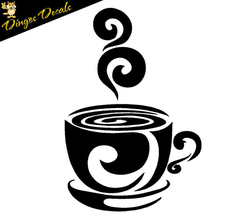 Details About Swirl Coffee Cup Cafe Vinyl Wall Art Decal Stickers