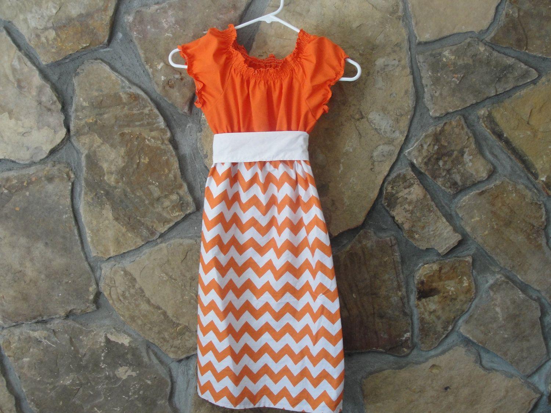 Orange and White Chevron Peasant Dress for Fall, Gameday, or Thanksgiving. $42.00, via Etsy.