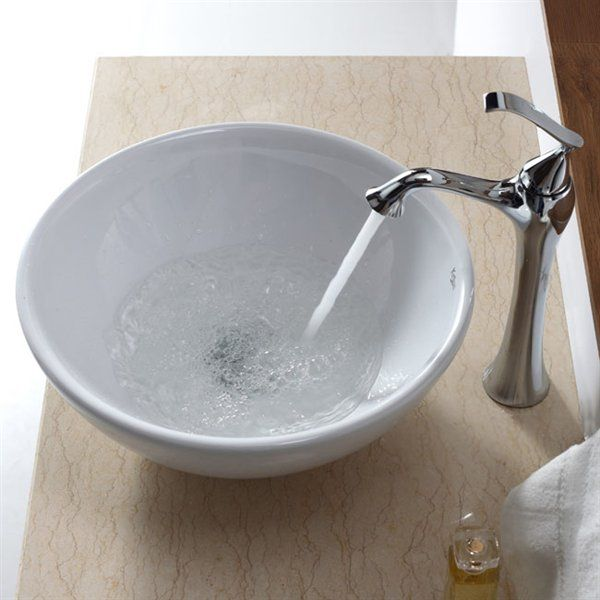 Kraus C-KCV-141-15000 White Round Ceramic Exquisite Faucet Bathroom Sink | ATG Stores