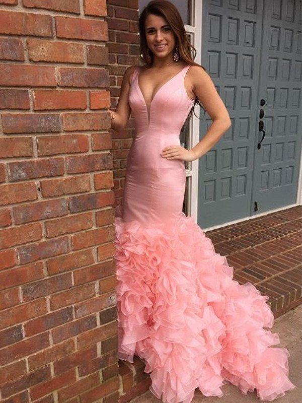 Mermaid Prom Dress,Gorgeous Ruffle Baby Pink Prom Dress/Evening ...