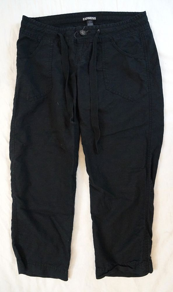 70eaad813d886 Express Cropped Capri Drawstring Linen Womens Black Pants Size 2 (R17 591)   Express  CaprisCropped
