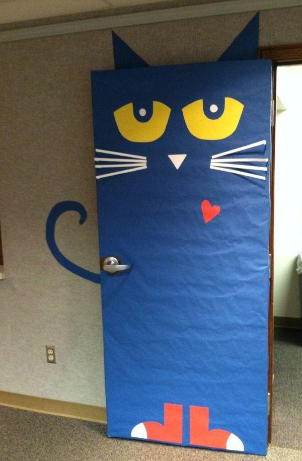 Pete The Cat Door Decoration Also Served As A Nice Photo Op Door Decorations Classroom Halloween Classroom Door Halloween Classroom