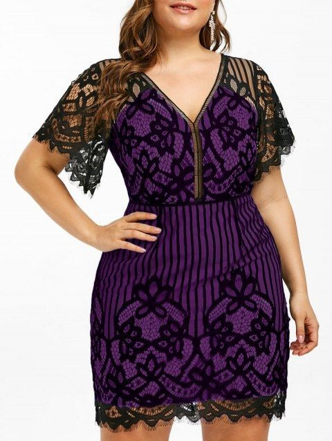 Plus Size Lace Plunge Mini Fitted Dress | Fitted mini ...