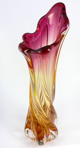 Murano Glass Vase Art Glass Vase Blown Glass Art Glass Art