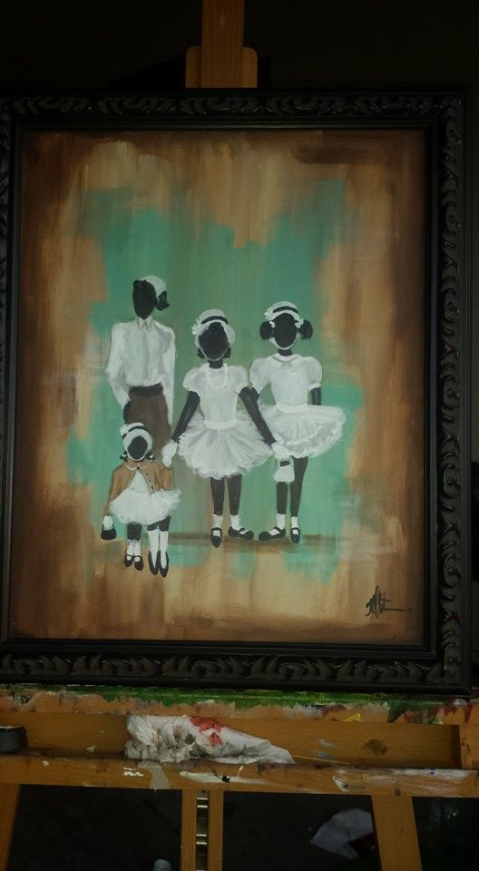 16x20 Four sisters Acrylic on canvas vintage style frame | Theresa ...