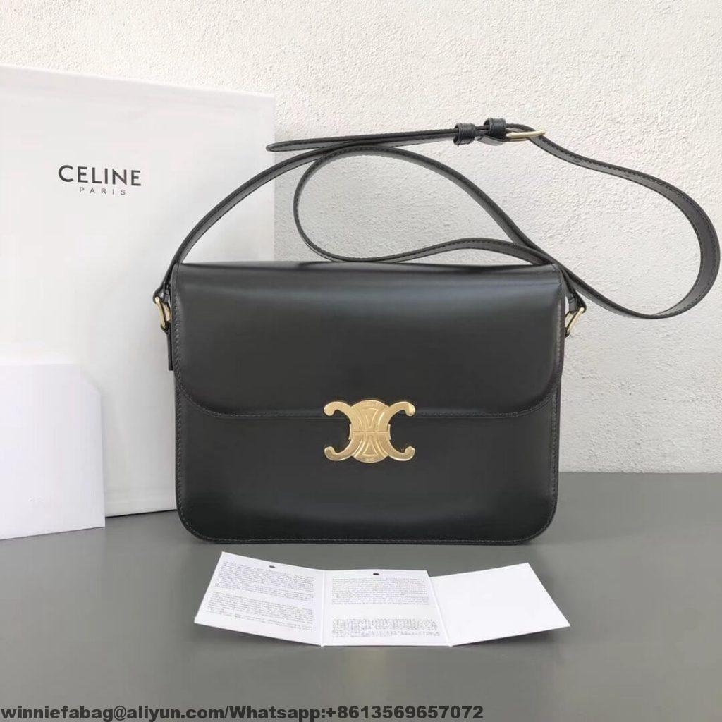b9338db7a894 Celine Shiny Calfskin Medium Triomphe Bag 2019 | Celine in 2019 ...