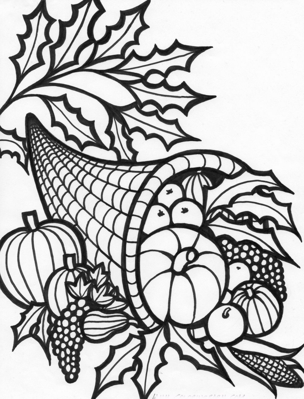 Cornucopia Represents The Bountiful Autumn Season Of Thanksgiving Full Of Fresh Fruits A Thanksgiving Coloring Sheets Turkey Coloring Pages Free Coloring Pages