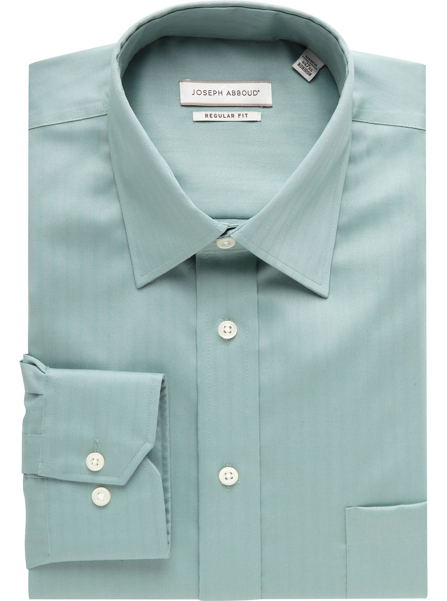 Dress Shirts Joseph Abboud Light Green Herringbone Dress Shirt