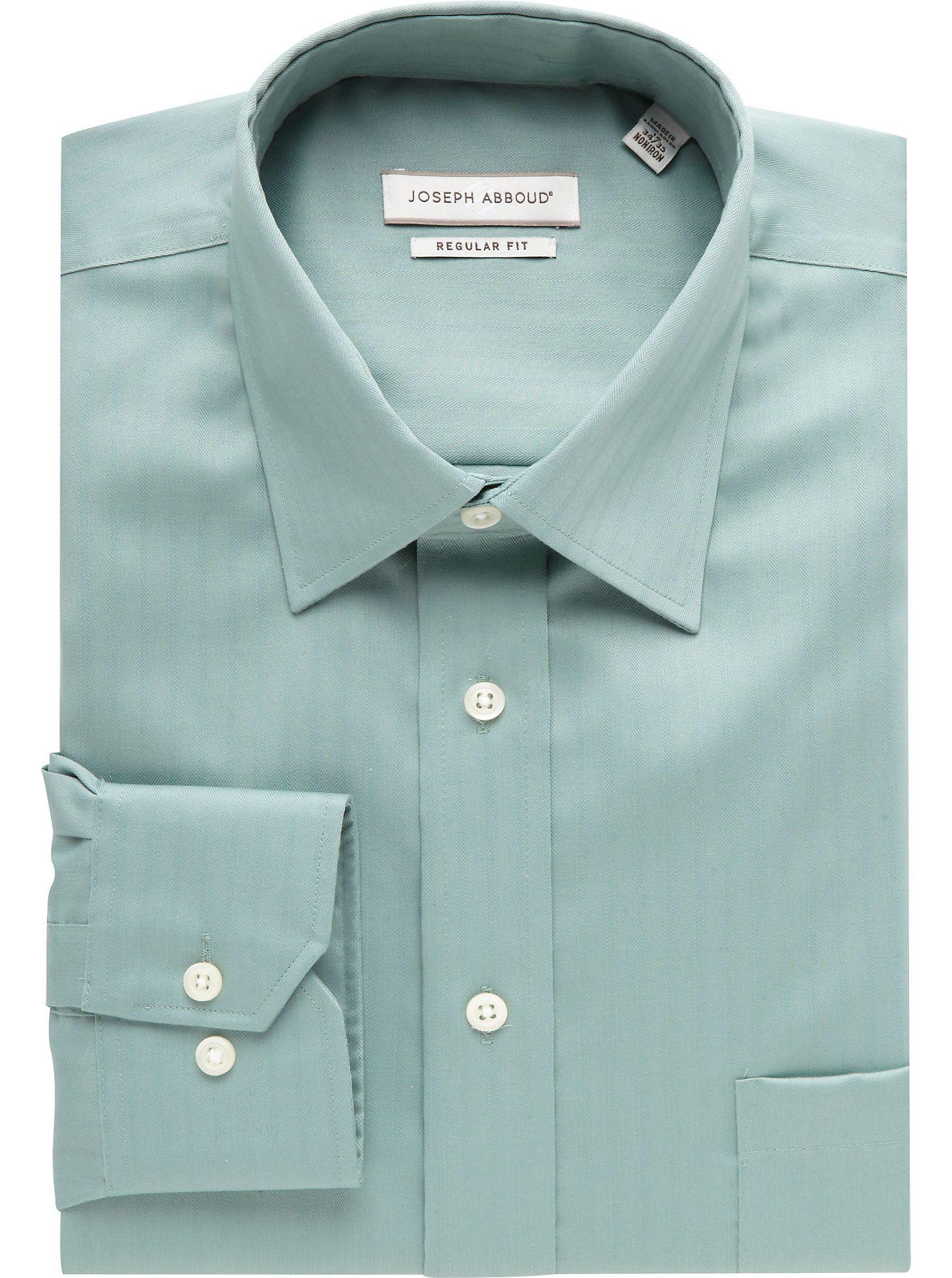 Dress Shirts Joseph Abboud Light Green Herringbone Dress Shirt