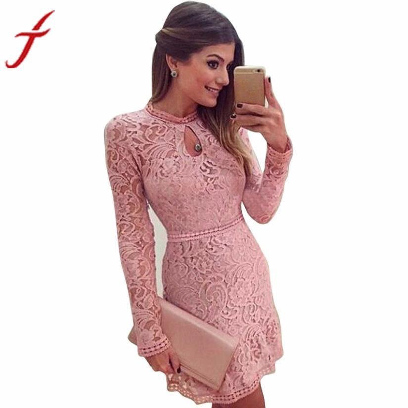 Fashion Women Sexy Pink Hollow Out Lace Long Sleeve Slim Dress clubwear Party MIni Dress