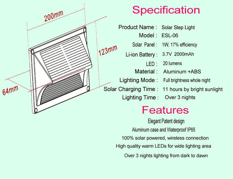 High Quality Small Solar Stairs Step Modern Decorative Wall Light