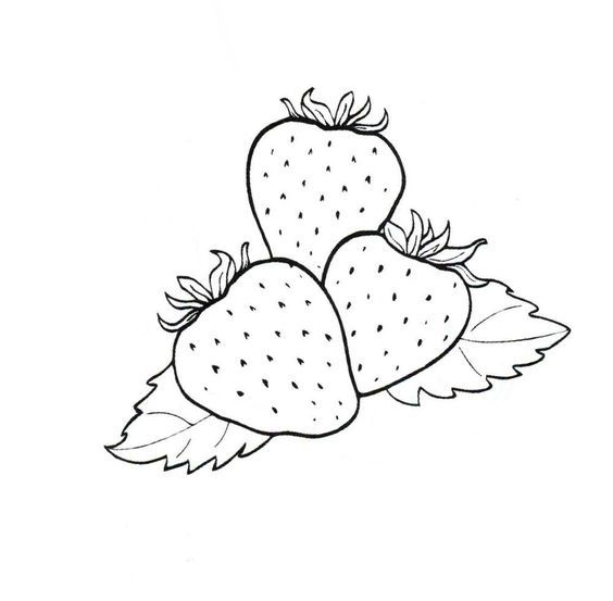 3 strawberries coloring sheet   coloring pages   Pinterest