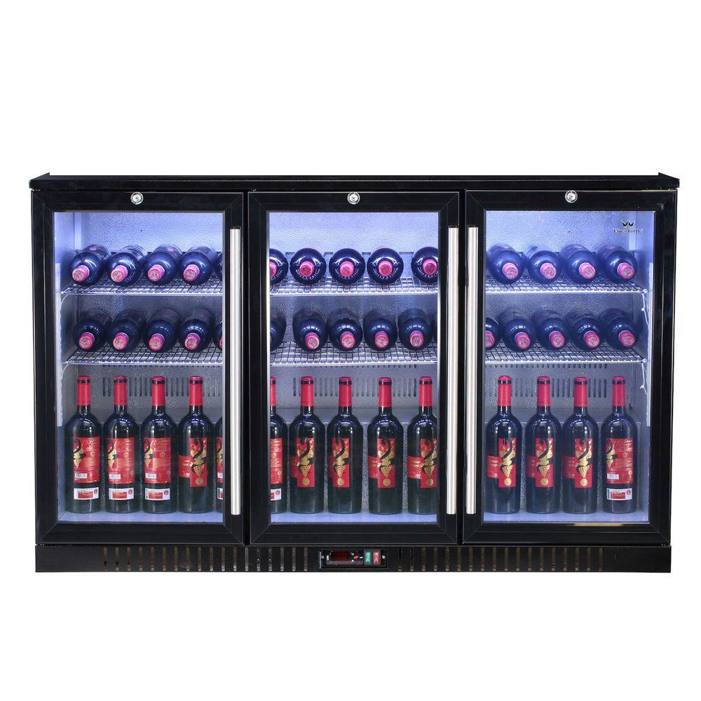 Description This 3 Door Back Bar Fridge Offers Large Storage Capacity The Industrial Black Finish Offers You The Cost S Bar Fridges Best Wine Coolers Back Bar
