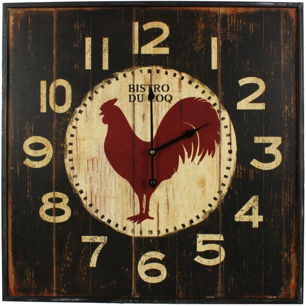 Horloge ancienne murale carre bistrot du coq 60cm gardiens du temps pinte for Horloge murale style bistrot
