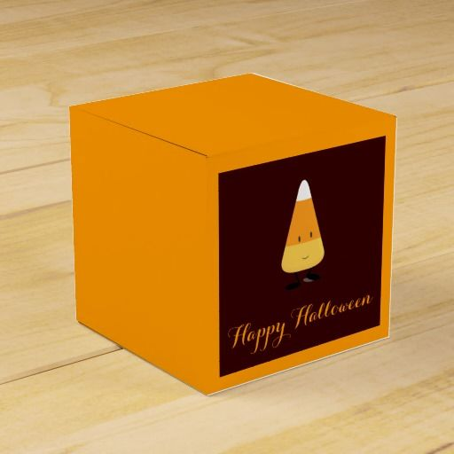 Halloween with Smiling Candy Corn Party Favor Box